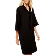Buy Jaeger Tie Neck Crepe Dress, Black Online at johnlewis.com