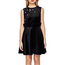 Buy Ted Celeena Embellished Bee Velvet Shift Dress, Black Online at johnlewis.com