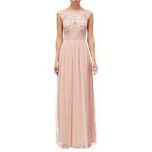 Buy Adrianna Papell Bead Mesh Maxi Dress, Blush Online at johnlewis.com