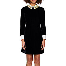 Buy Ted Baker Sharali Embellished Collar Velvet Dress, Black Online at johnlewis.com
