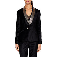 Buy Ted Baker Kairaa Embellished Velvet Suit Jacket, Black Online at johnlewis.com