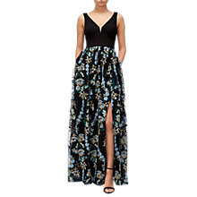 Buy Adrianna Papell Embroidered Tulle Maxi Dress, Black/Multi Online at johnlewis.com