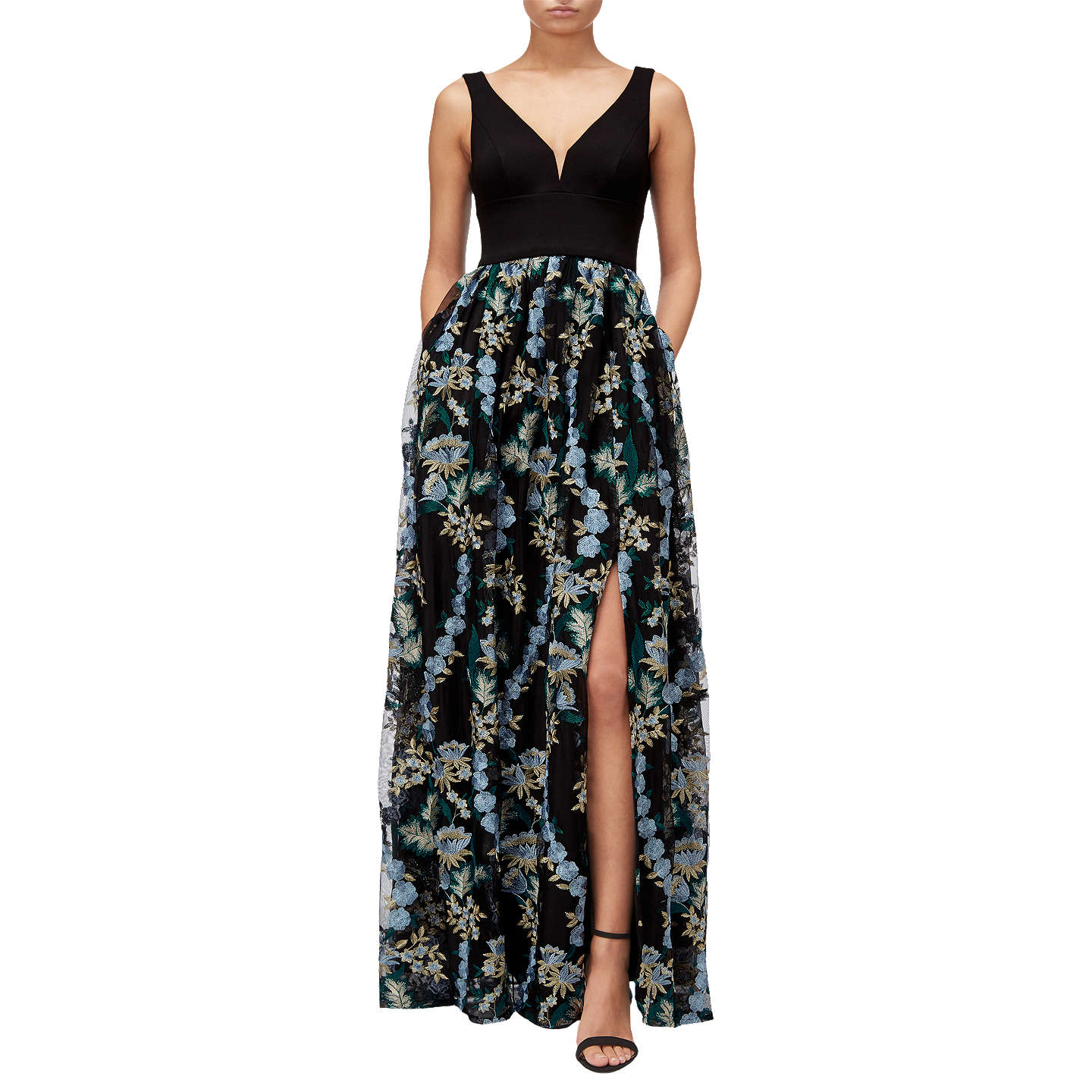 Adrianna Papell Embroidered Tulle Maxi Dress, Black/Multi at John Lewis