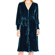 Buy Ghost Riley Velvet Dress, Deep Teal Online at johnlewis.com