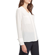 Buy Jaeger Front Pocket Washable Silk Blouse, Ivory Online at johnlewis.com