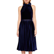Buy Ted Baker Cornela Pleated Velvet Midi Dress, Dark Blue Online at johnlewis.com