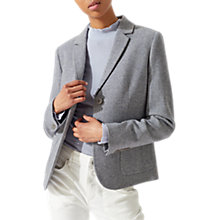 Buy Jigsaw Wool Herringbone Patch Pocket Jacket, Pale Blue Online at johnlewis.com