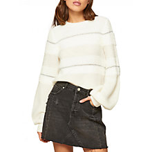 Buy Miss Selfridge Mixed Yarn Knitted Jumper, Cream Online at johnlewis.com