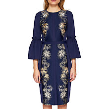 Buy Ted Baker Jeeane Stardust Flute Sleeve Dress, Dark Blue Online at johnlewis.com