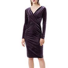 Buy Finery Flockton Crossover Velvet Dress, Charcoal Grey Online at johnlewis.com