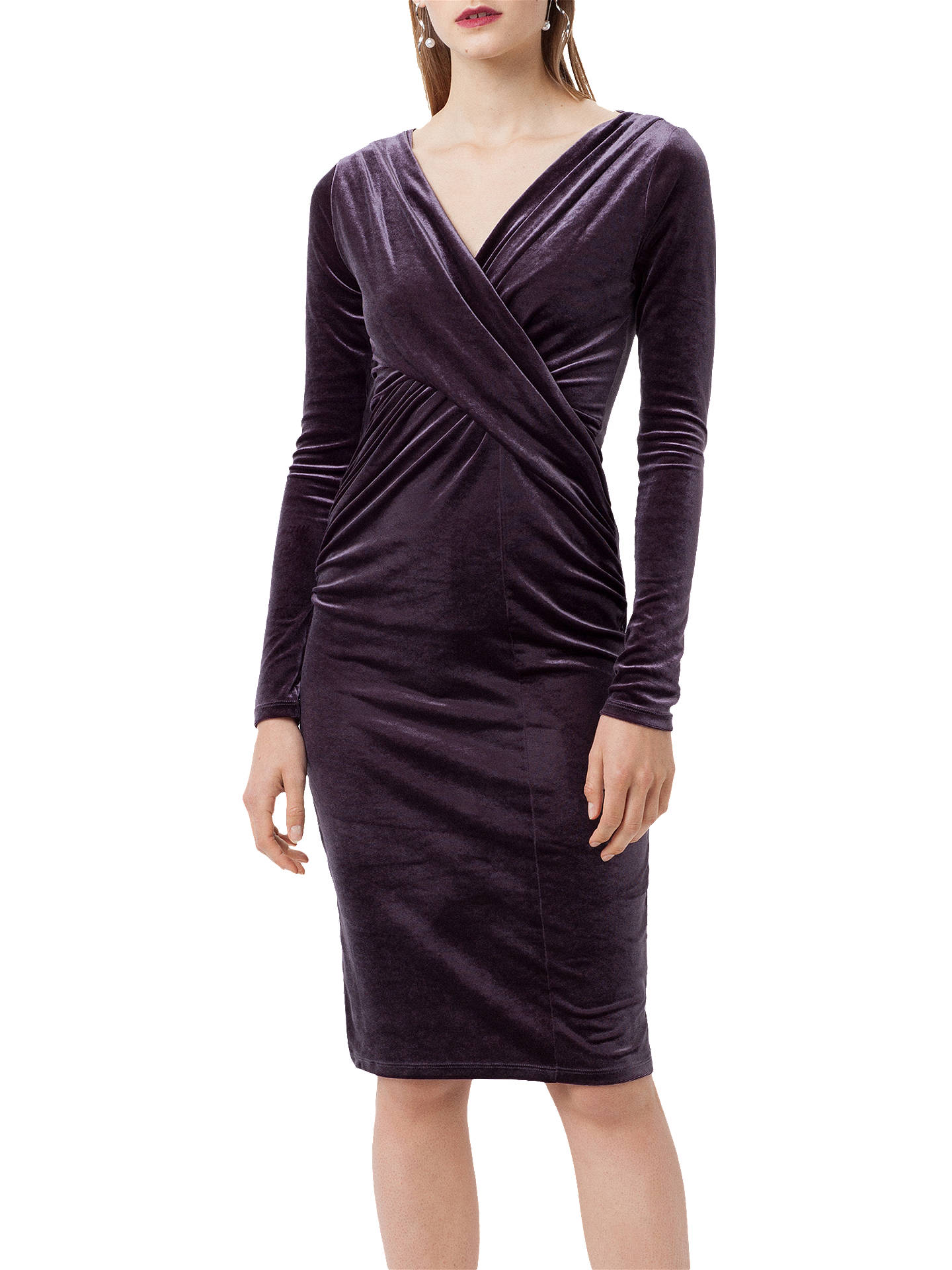 Buy Finery Flockton Crossover Velvet Dress, Charcoal Grey, 8 Online at johnlewis.com