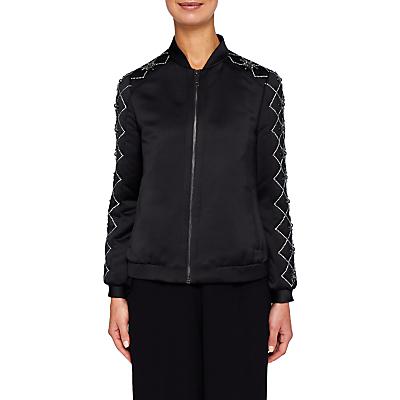 Product photo of Ted baker jamala embellished satin bomber jacket black