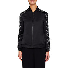 Buy Ted Baker Jamala Embellished Satin Bomber Jacket, Black Online at johnlewis.com
