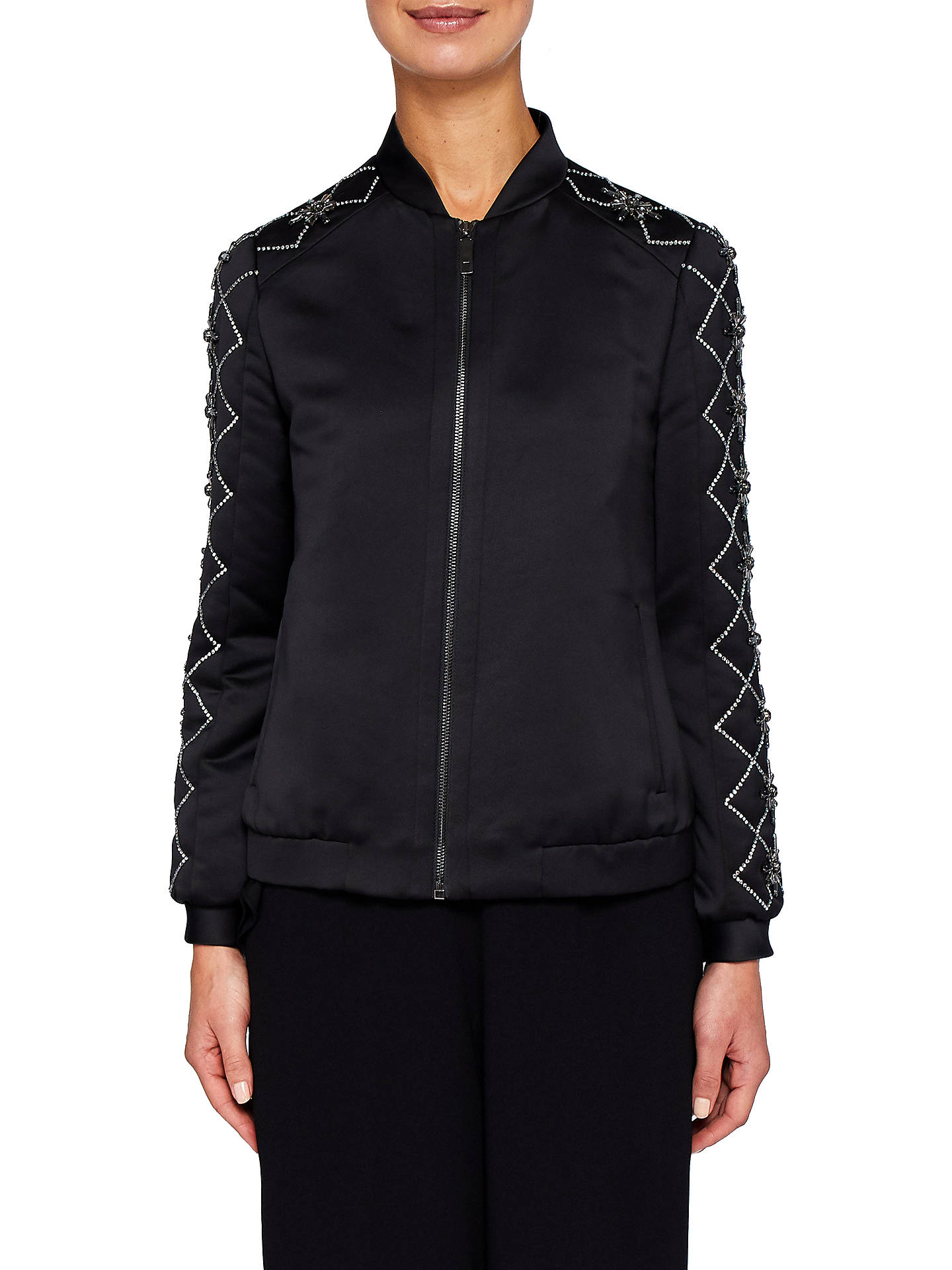 f4c3669ad Ted Baker Jamala Embellished Satin Bomber Jacket, Black at John ...