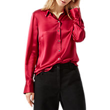 Buy Jigsaw Silk Shirt, Fuchsia Online at johnlewis.com