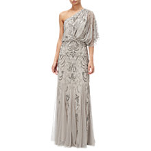Buy Adrianna Papell One Shoulder Blouson Bead Gown, Platinum Online at johnlewis.com