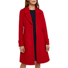 Buy Jaeger Wool Button Waist Fitted Coat, Red Online at johnlewis.com