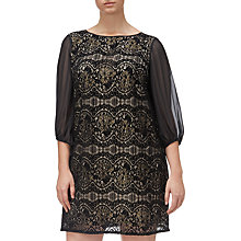 Buy Adrianna Papell Plus Size Scalloped Lace Shift Dress, Black/Champagne Online at johnlewis.com
