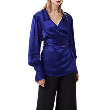 Buy Finery Reeve Satin Wrap Top, Bright Blue Online at johnlewis.com