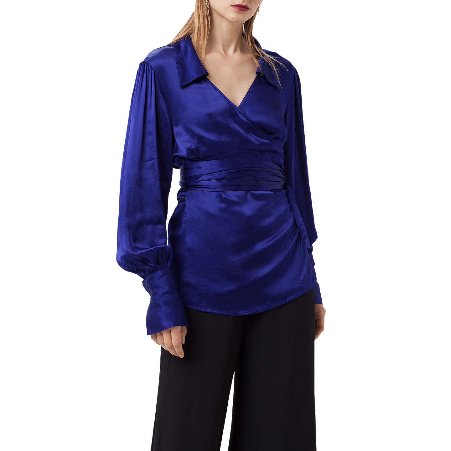 BuyFinery Reeve Satin Wrap Top, Bright Blue, 8 Online At Johnlewis.com ...