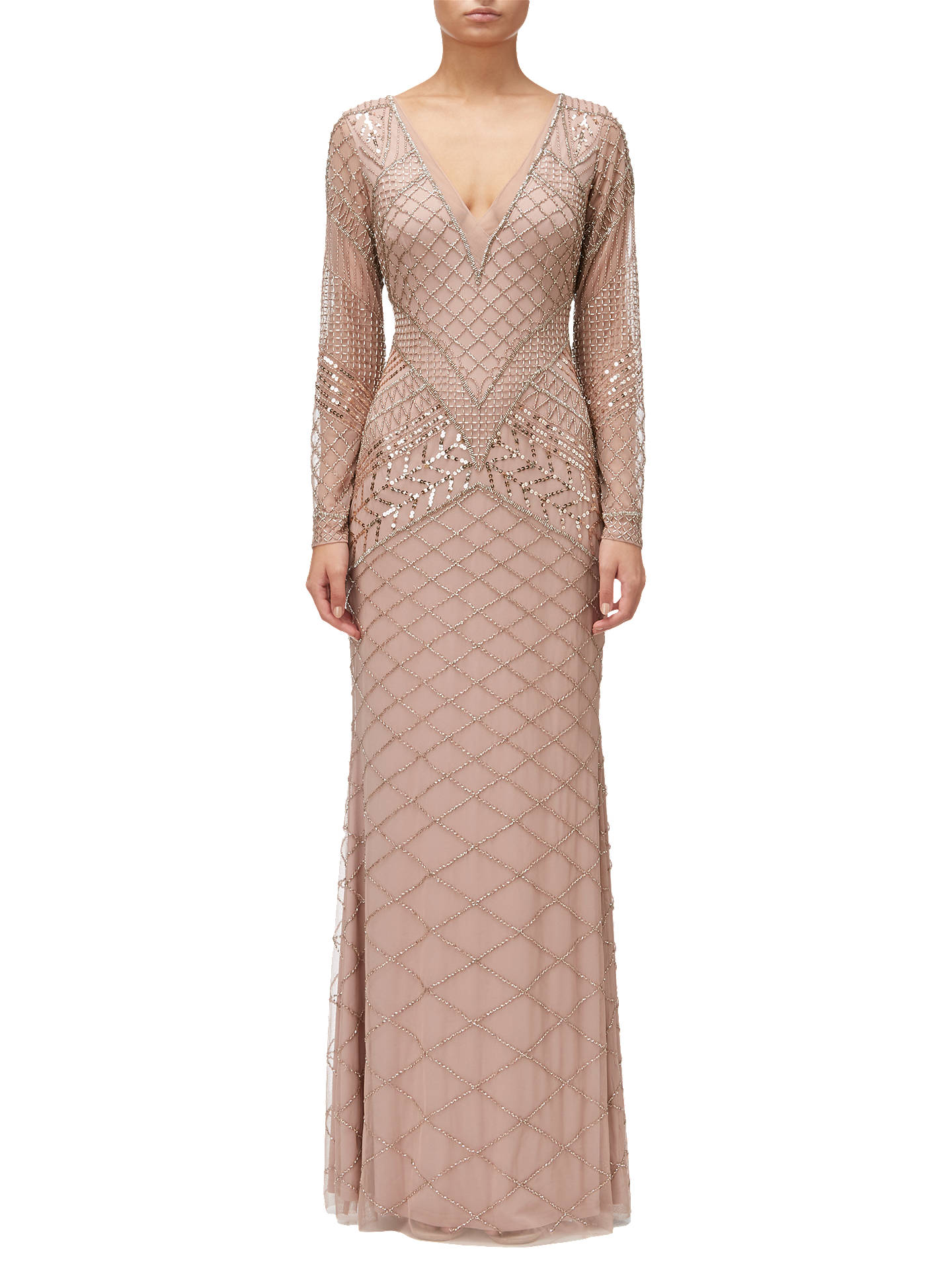 BuyAdrianna Papell Beaded Long Dress, Rose Gold, 6 Online at johnlewis.com