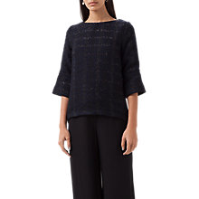 Buy Finery Shenfield Woven Shell Top, Black/Navy Online at johnlewis.com