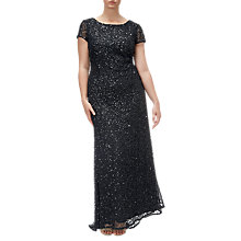Buy Adrianna Papell Plus Size Scooped Back Long Dress, Black Online at johnlewis.com