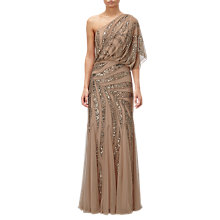 Buy Adrianna Papell One Shoulder Long Beaded Dress, Taupe/Pink Online at johnlewis.com