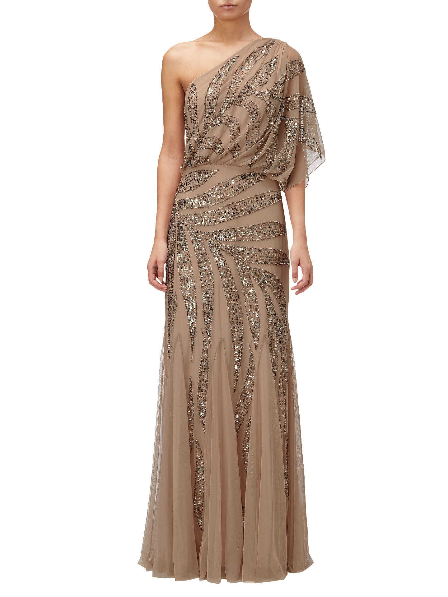 Adrianna Papell One Shoulder Long Beaded Dress, Taupe/Pink at John ...