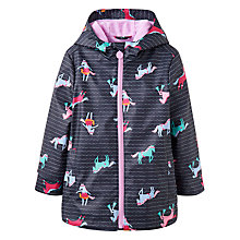 Buy Little Joule Girls' Raindance Horse Waterproof Coat, Navy Online at johnlewis.com