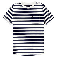 Buy Tommy Hilfiger Boys' Stripe Pique T-Shirt, White/Navy Online at johnlewis.com