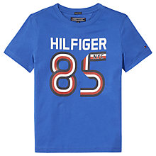 Buy Tommy Hilfiger Boys' Stripe Print Logo T-Shirt, Blue Online at johnlewis.com