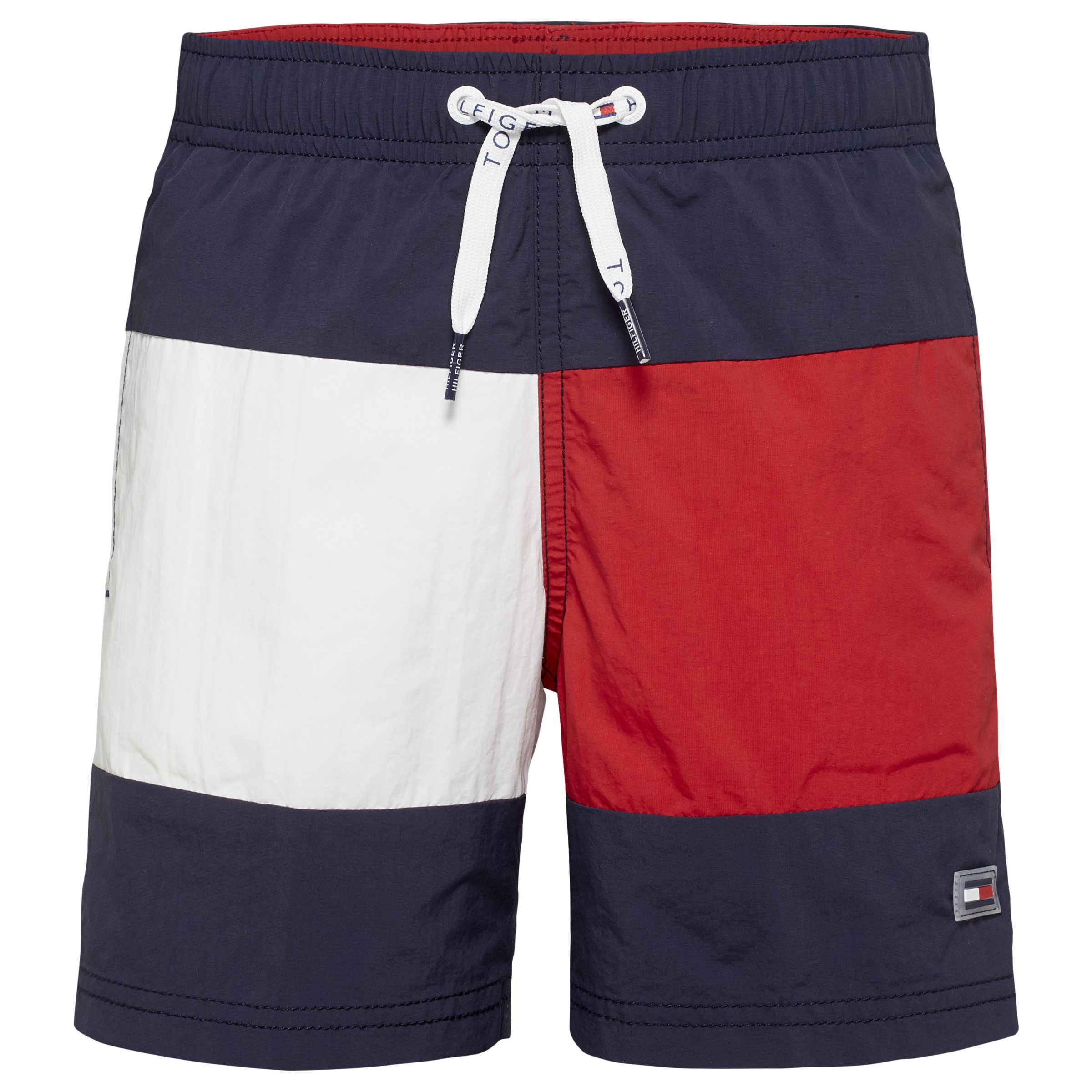 95f3e3a47a701 Tommy Hilfiger Boys' Flag Swim Shorts, Blue/Red at John Lewis & Partners