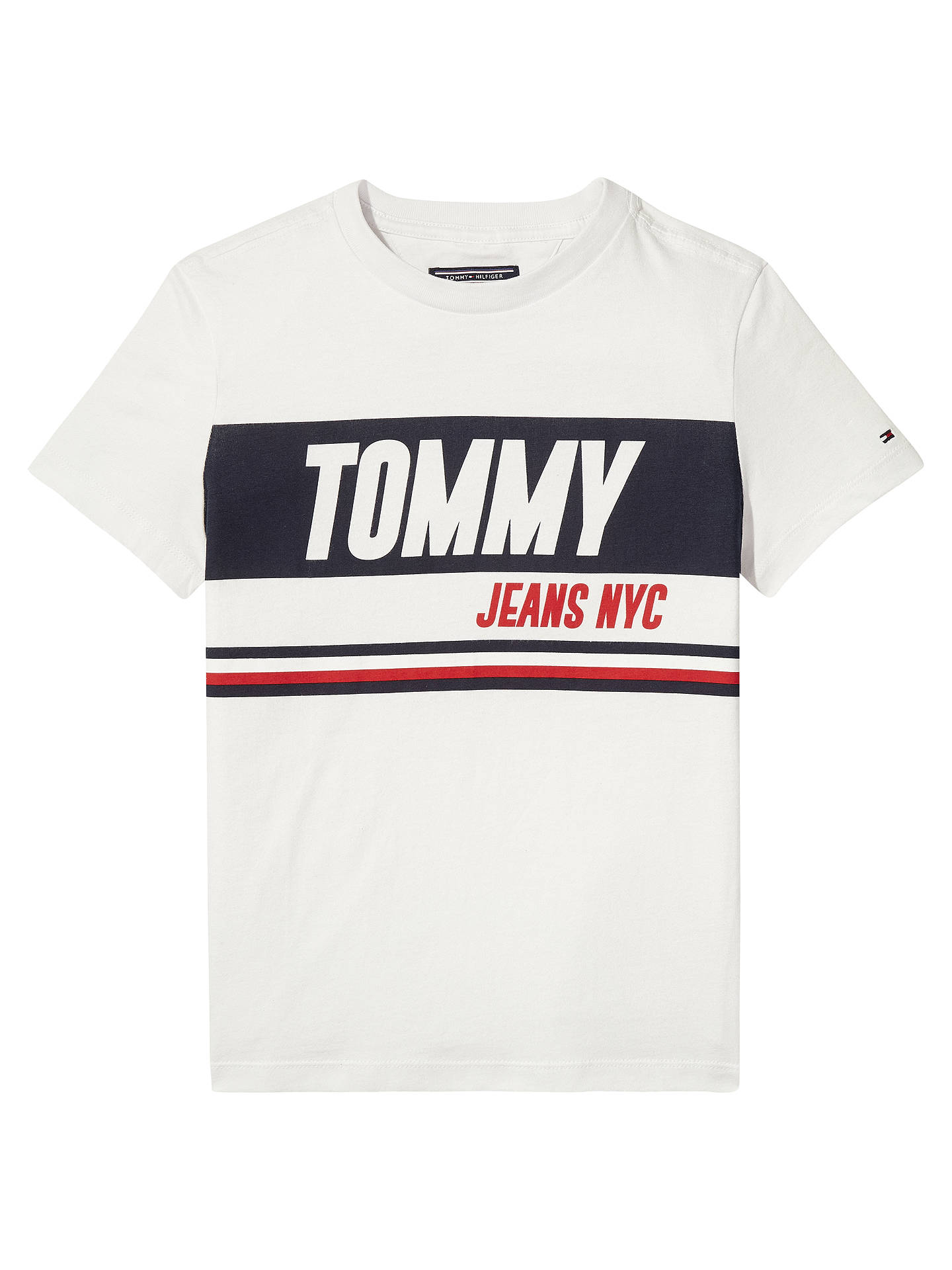 928d7061 Tommy Hilfiger Boys' Sport Print Logo T-Shirt, White at John Lewis ...