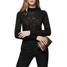 Buy Reiss Jolie Devore Long Sleeve Top, Black Online at johnlewis.com