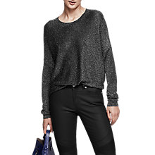 Buy Reiss Ada Metallic Crew Neck Jumper, Black Online at johnlewis.com