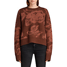 Buy AllSaints Kasuri Crew Neck Jumper, Copper Red Online at johnlewis.com