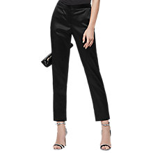 Buy Reiss Beth Satin Cigarette Trousers, Black Online at johnlewis.com
