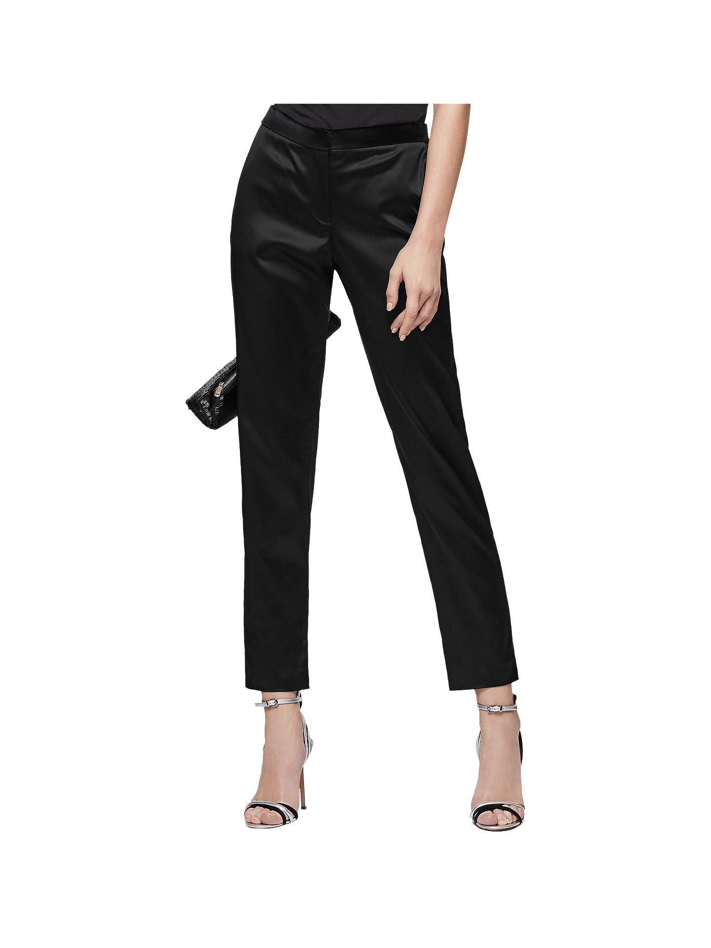 24b59b32a Buy Reiss Beth Satin Cigarette Trousers, Black, 6 Online at johnlewis.com  ...