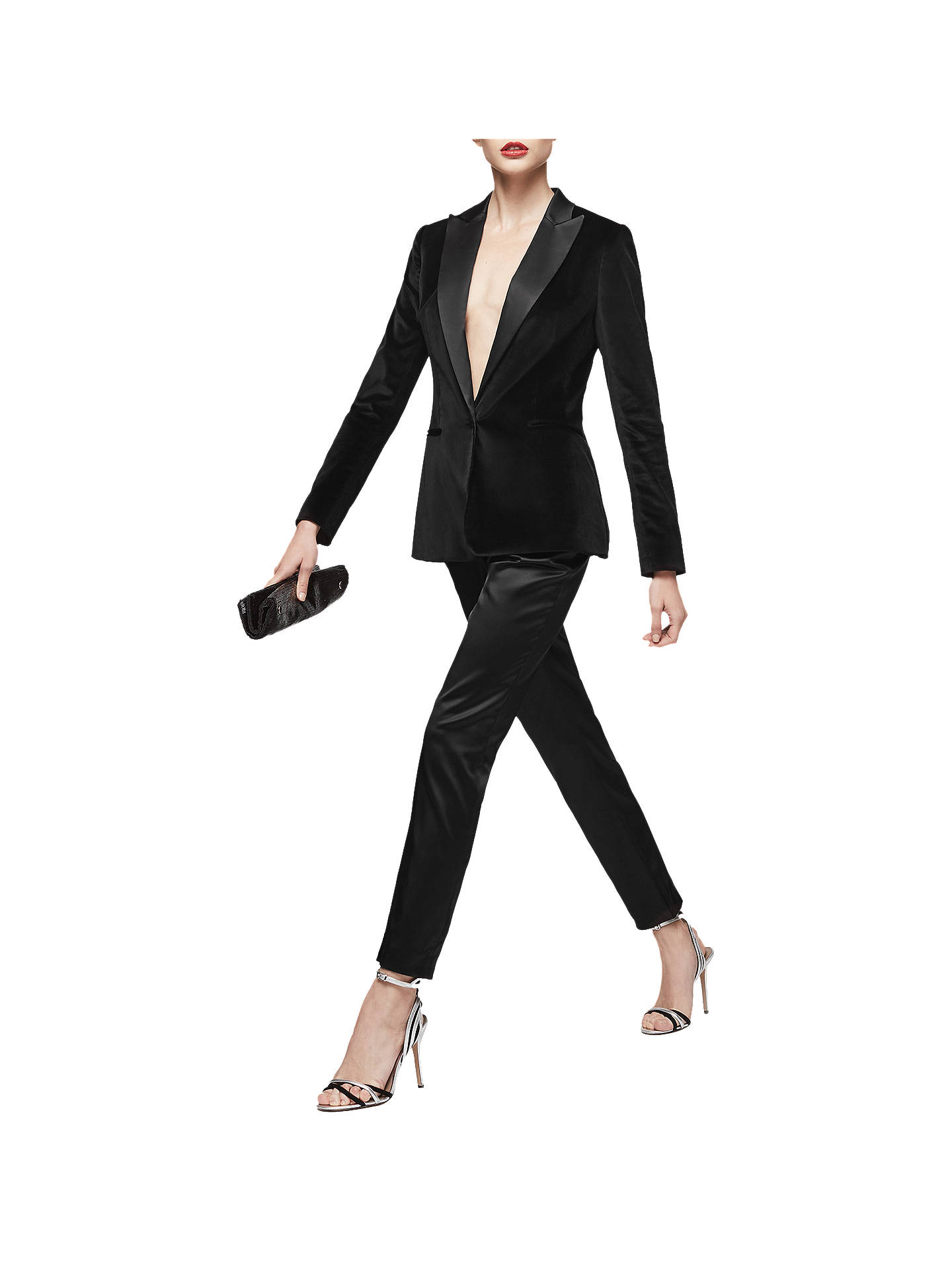 64cc22674 ... Buy Reiss Beth Satin Cigarette Trousers, Black, 6 Online at  johnlewis.com