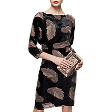 Buy Reiss Kindra Feather Print Velvet Dress, Multi Online at johnlewis.com