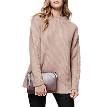 Buy Reiss Annabella Chunky Funnel Neck Jumper, Pink Online at johnlewis.com