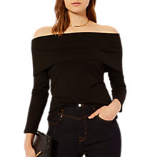 Buy Karen Millen Deep Bardot Jersey Top, Black Online at johnlewis.com