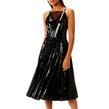 Buy Coast Vivianna Pleated Sequin Dress, Black Online at johnlewis.com