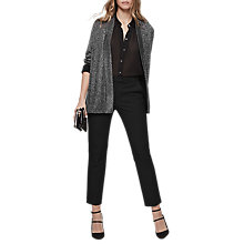 Buy Reiss Kimberley Metallic Knitted Cardigan, Silver Online at johnlewis.com
