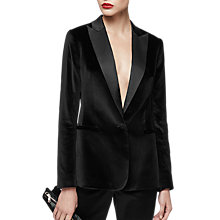 Buy Reiss Vixen Single Breasted Velvet Blazer, Black Online at johnlewis.com