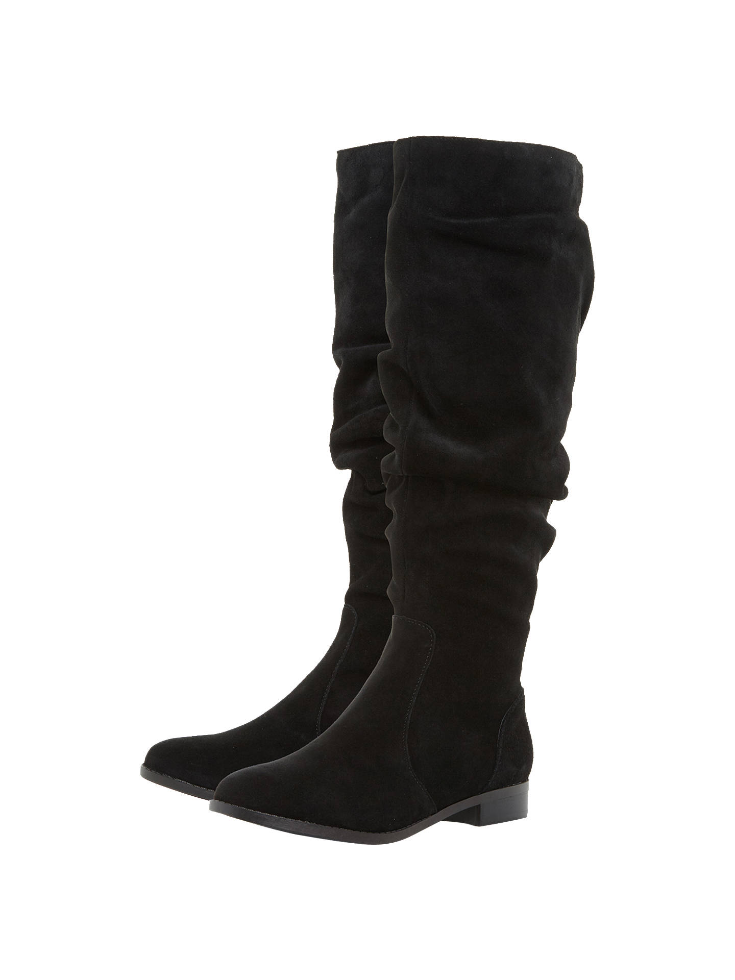 BuySteve Madden Beacon Ruched Knee High Boots, Black Suede, 3 Online at johnlewis.com