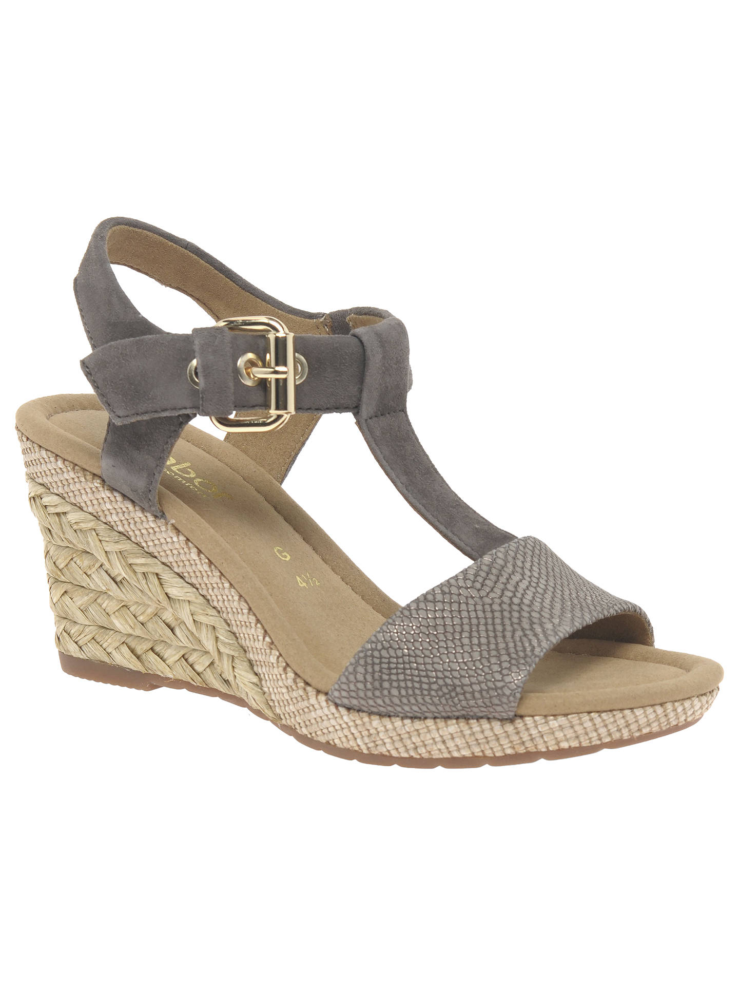 f8dbaafbf175 Gabor Karen Wide Fit Wedge Heeled Sandals at John Lewis   Partners