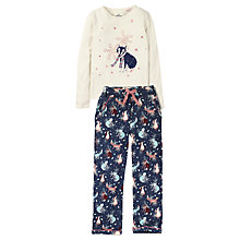 Buy Fat Face Children's Fox Jersey Pyjamas, Blue/Oatmeal Online at johnlewis.com