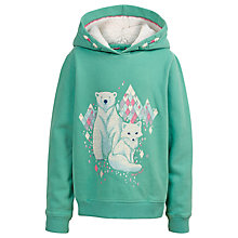 Buy Fat Face Girls' Graphic Arctic Fox And Polar Bear Hoodie, Aqua Online at johnlewis.com
